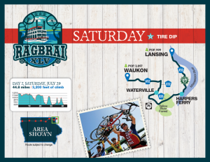 Saturday RAGBRAI Route Map