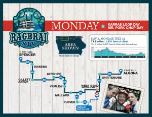 Monday RAGBRAI Route